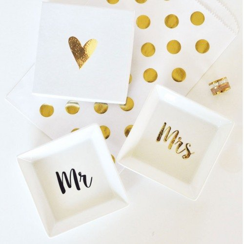 Mr. & Mrs. Ring Dishes Bridal Gift Idea