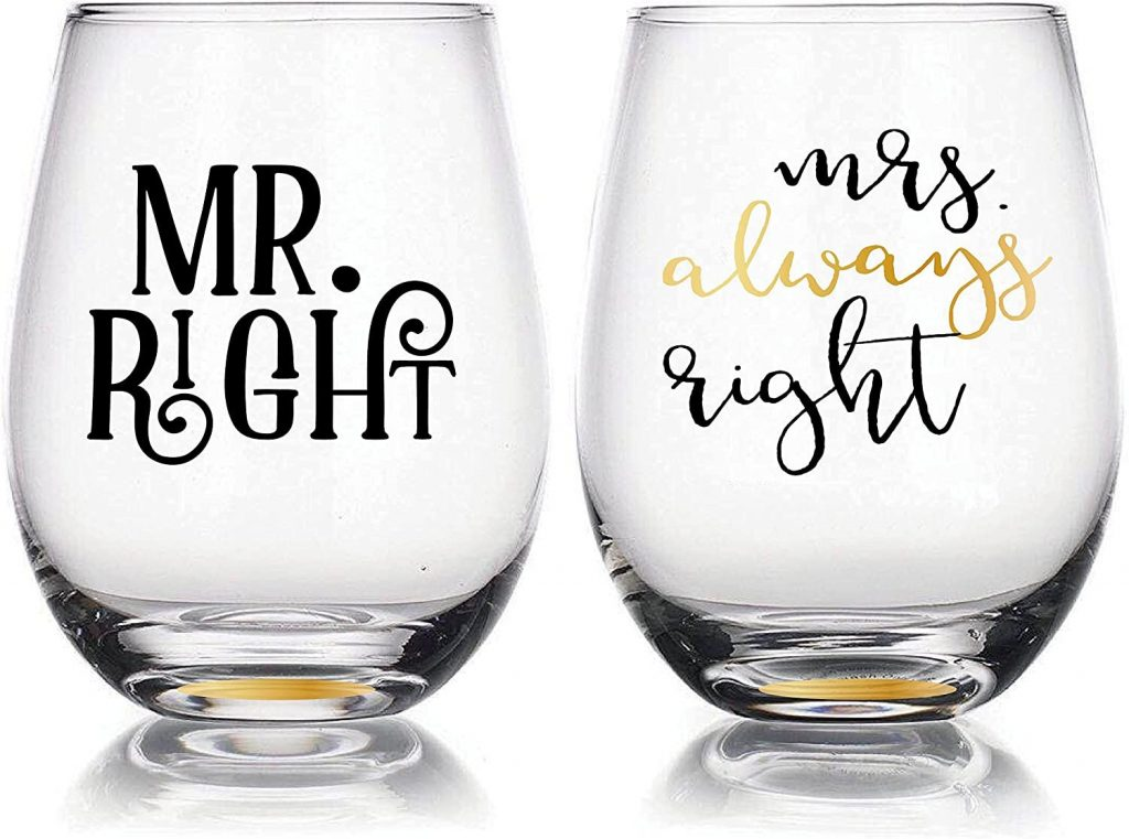 Mr. & Mrs. Stemless Wine Glass set Bridal Gift Idea