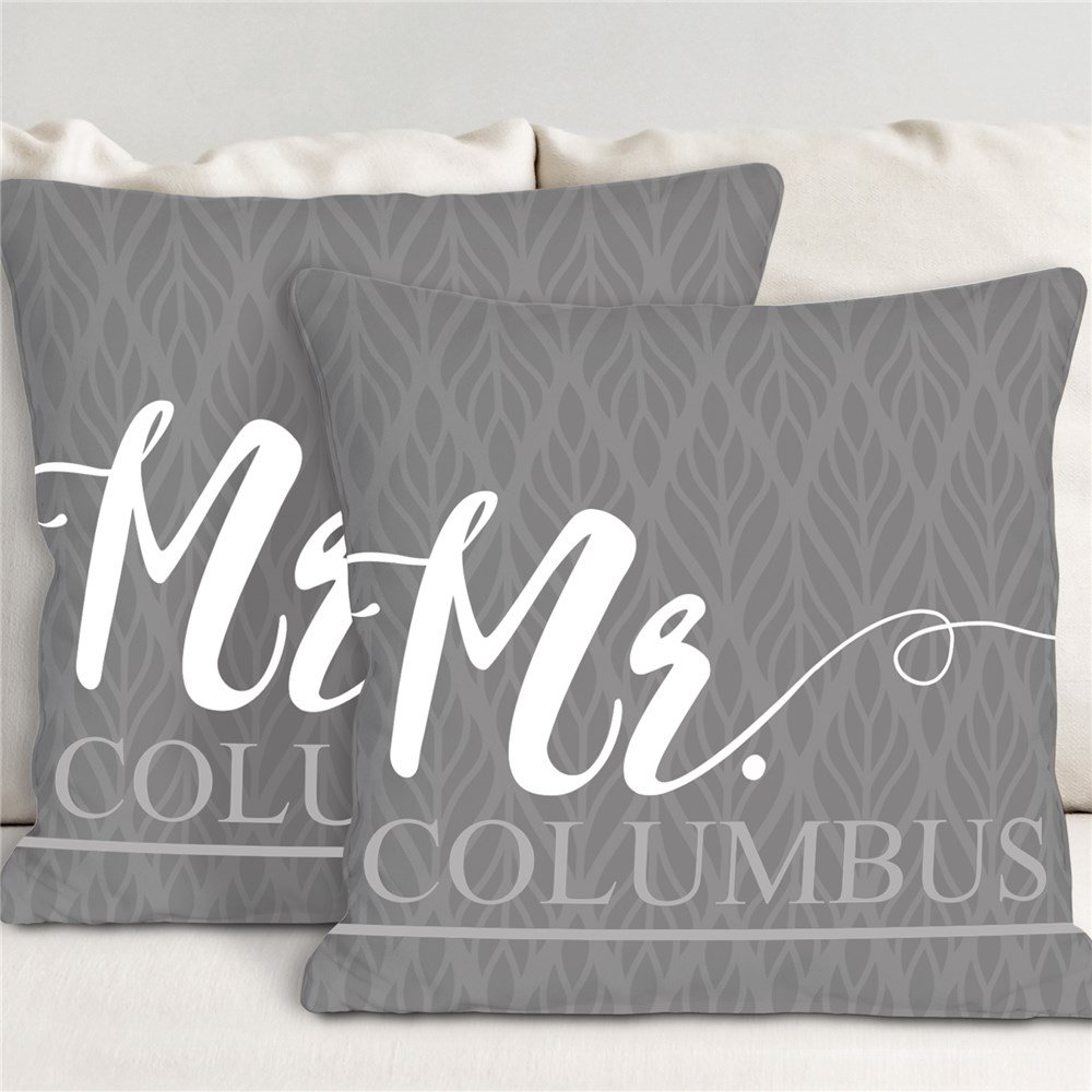 Personalized Mr. & Mrs. Throw Pillow Set Wedding Gift Idea