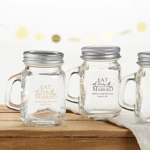 Personalized Printed Mini Mason Mugs Cottagecore Wedding Favo Idea