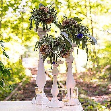 Spindle Candle Holder Set Wedding Table Decor Idea