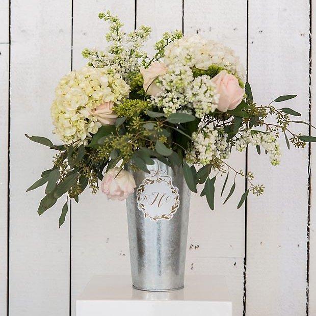 Tin Flower Bucket With Handle Cottagecore Wedding Decor