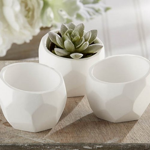 Geometric White Planters make for budget friendly centerpieces
