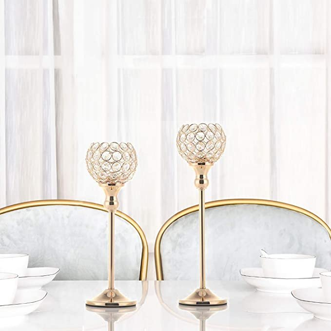 Gold Crystal Candle Holders Budget Friendly wedding Centerpieces