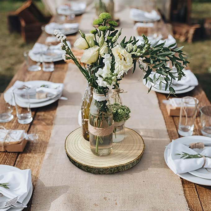 Large Wood Slices Budget Friendly Wedding Centerpieces