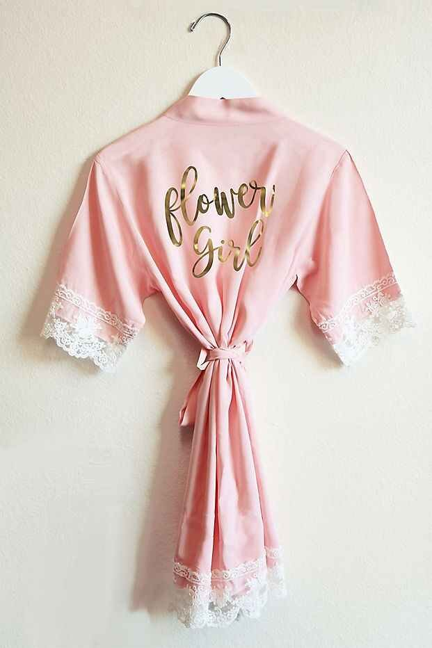Flower Girl Cotton Lace Robe Gift Idea