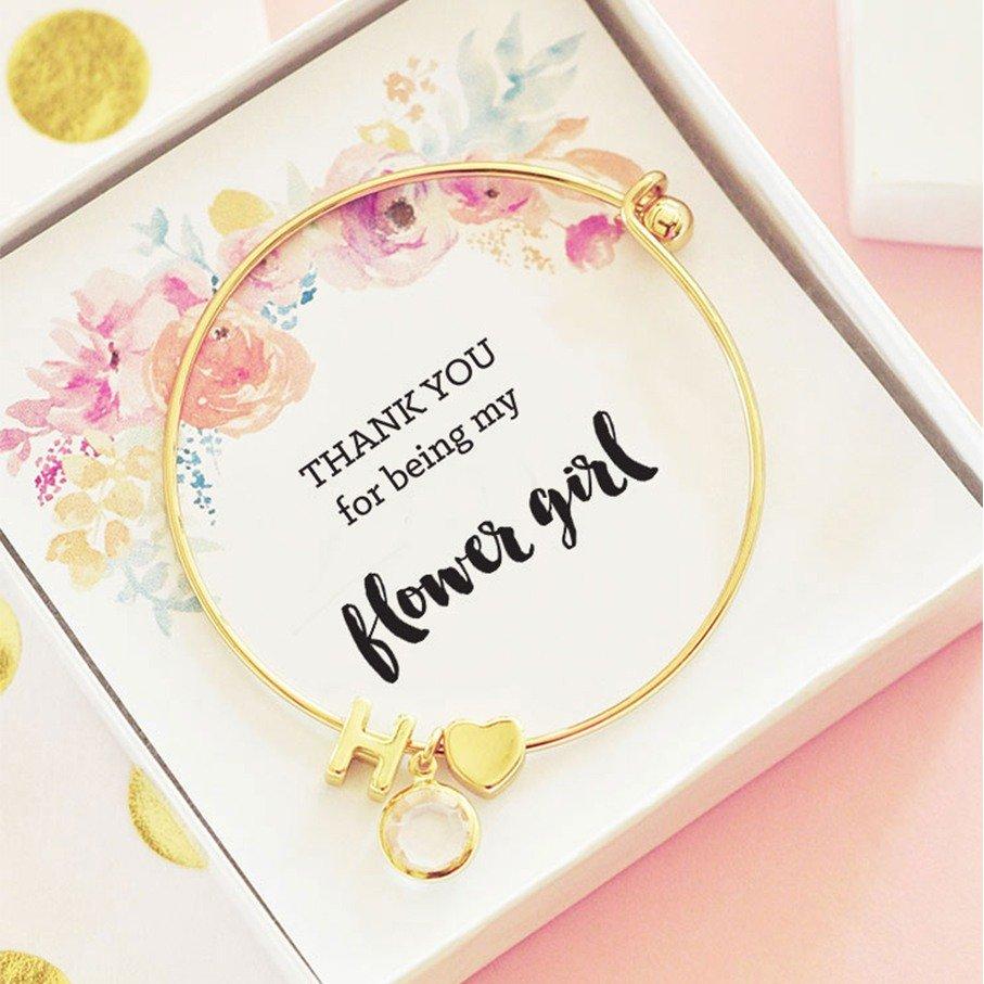 Flower girl monogram bracelet Gift Idea