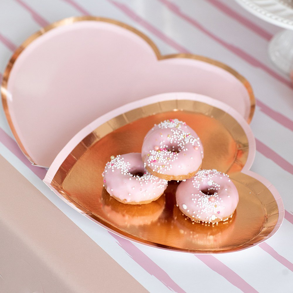 Heart Shaped Bridal Shower Disposable Paper Party Plates