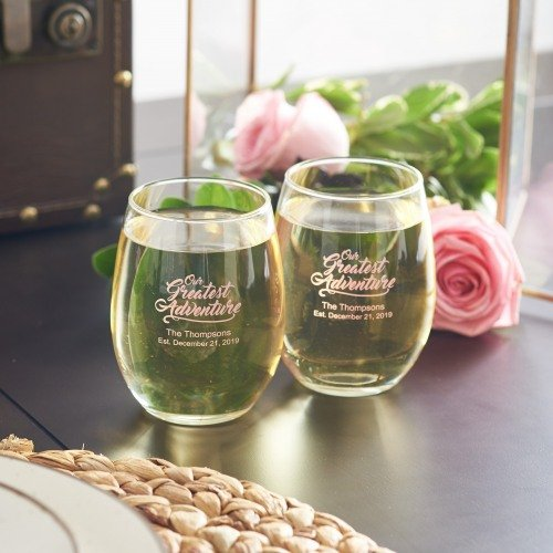 Our Greatest Adventure Personalized Stemless Wine Glasses - Travel Themed Wedding