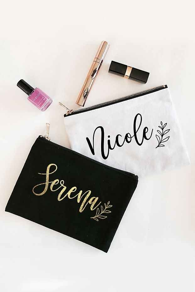 Spa Bridal Shower Personalized Cosmetic Canvas Bags
