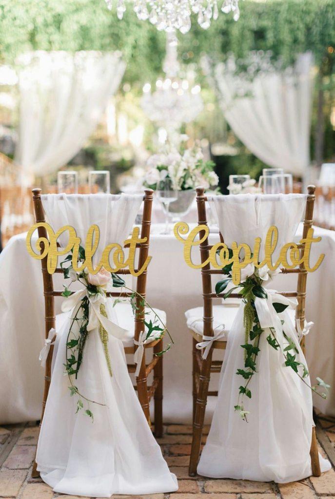 Pilot & Copilot Travel Themed Wedding Chair Signs