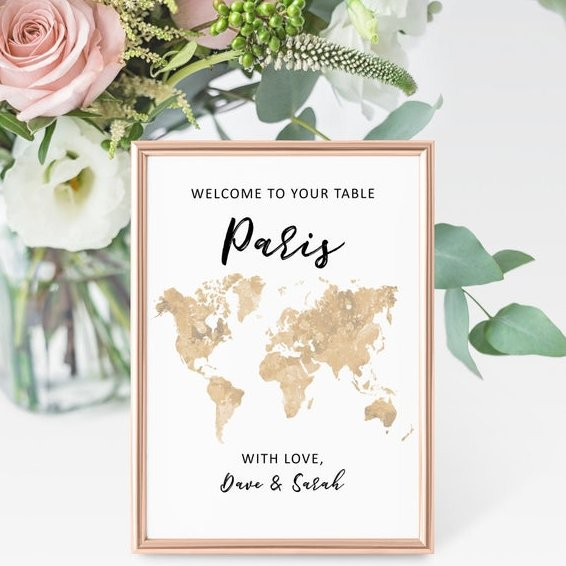 Travel Theme Wedding Table Name Sign