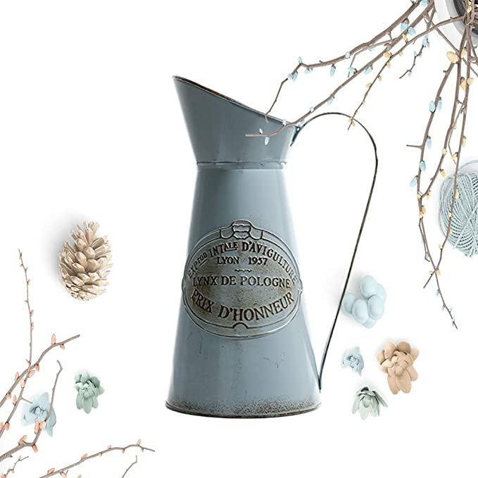 French Country Style Metal Pitcher Flower Vase