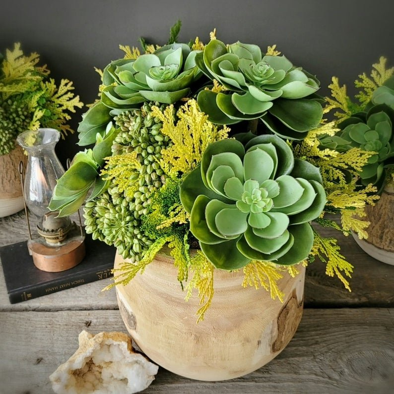 Faux Succulent Arrangement Bohemian Desert Inspired Wedding Table Decor