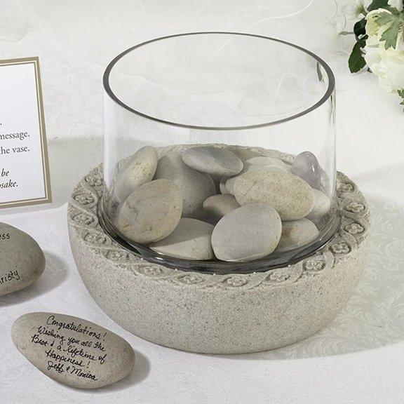 Glass Vase For Signing Stones Bohemian Desert Inspired Alternative Guest Book