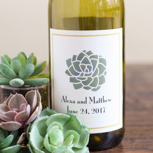 Bohemian Desert Inspired Wedding Personalized Succulent Wine Labels
