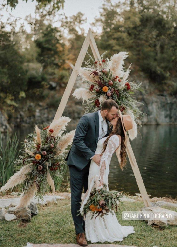Bohemian Desert Inspired Triangle Wedding Arch