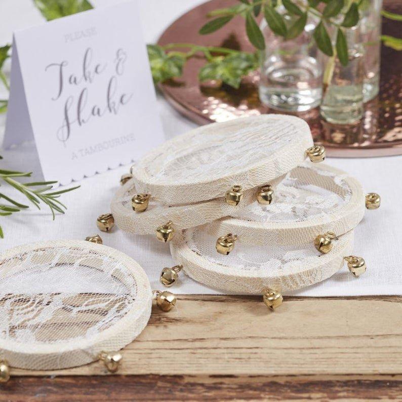 Small Wooden & Lace Tambourine Set Bohemian Desert Wedding Decor
