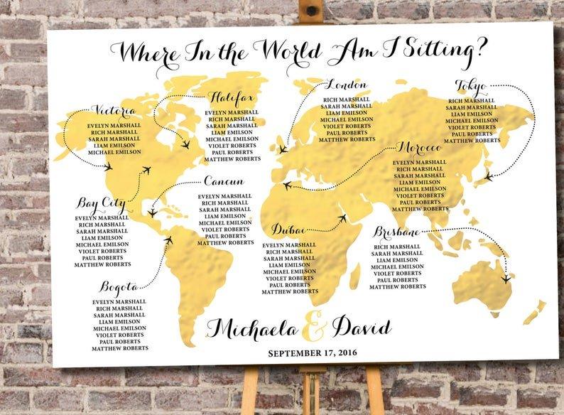 Travel Themed Wedding Custom World Map Seating Chart