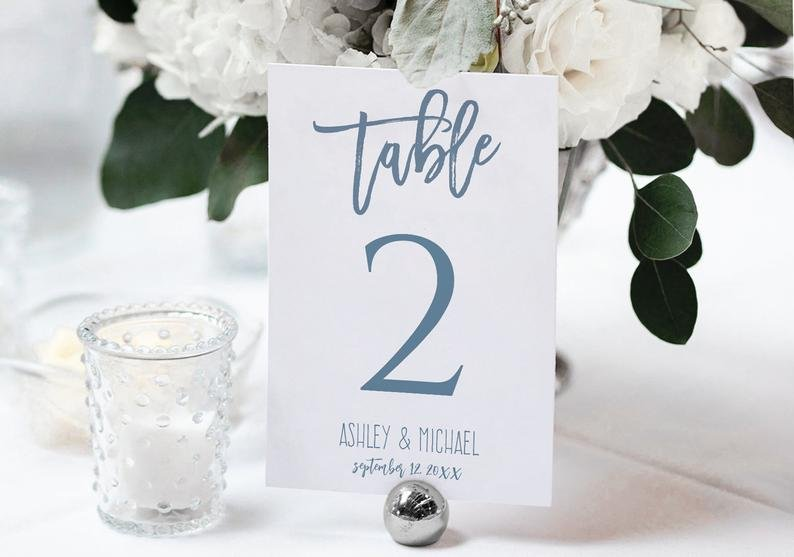 Dusty Blue Calligraphy Table Number Template