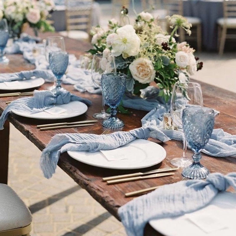 Dusty Blue Cotton Dinner Napkins