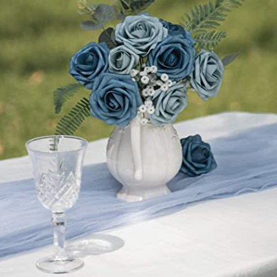 Dusty Blue Artificial Roses French Country Inspired Wedding Decor