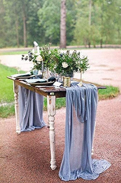 Dusty Blue Sheer Table Runner French Country Inspired Wedding Table Decor