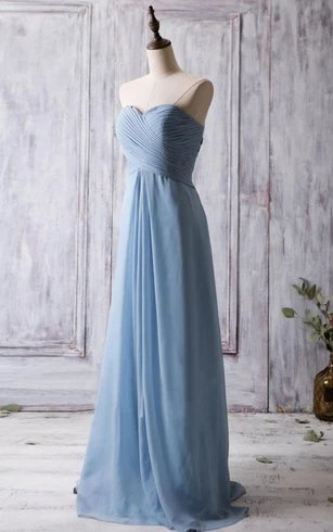 Dusty Blue Sweetheart Pleated A-line Chiffon Bridesmaid Dress with Criss-crop Top Style