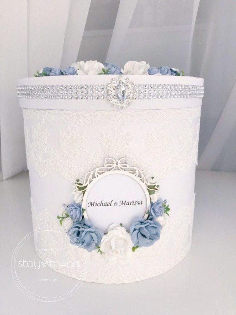 Dusty Blue Wishing Well Card Box