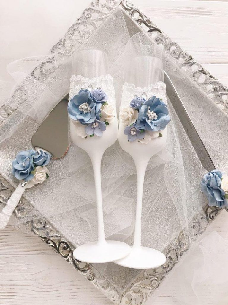 Dusty Blue Champagne Toasting Flutes French Country Inspired Wedding