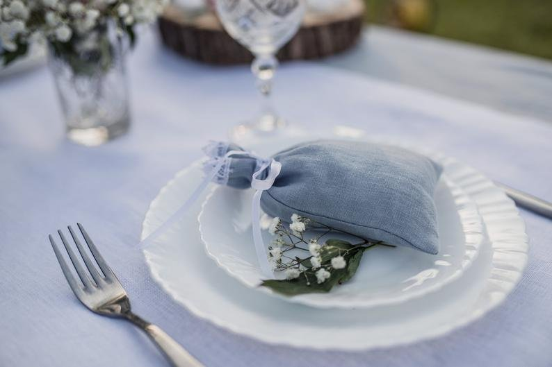 Dusty Blue  French Country Wedding Favor Bags