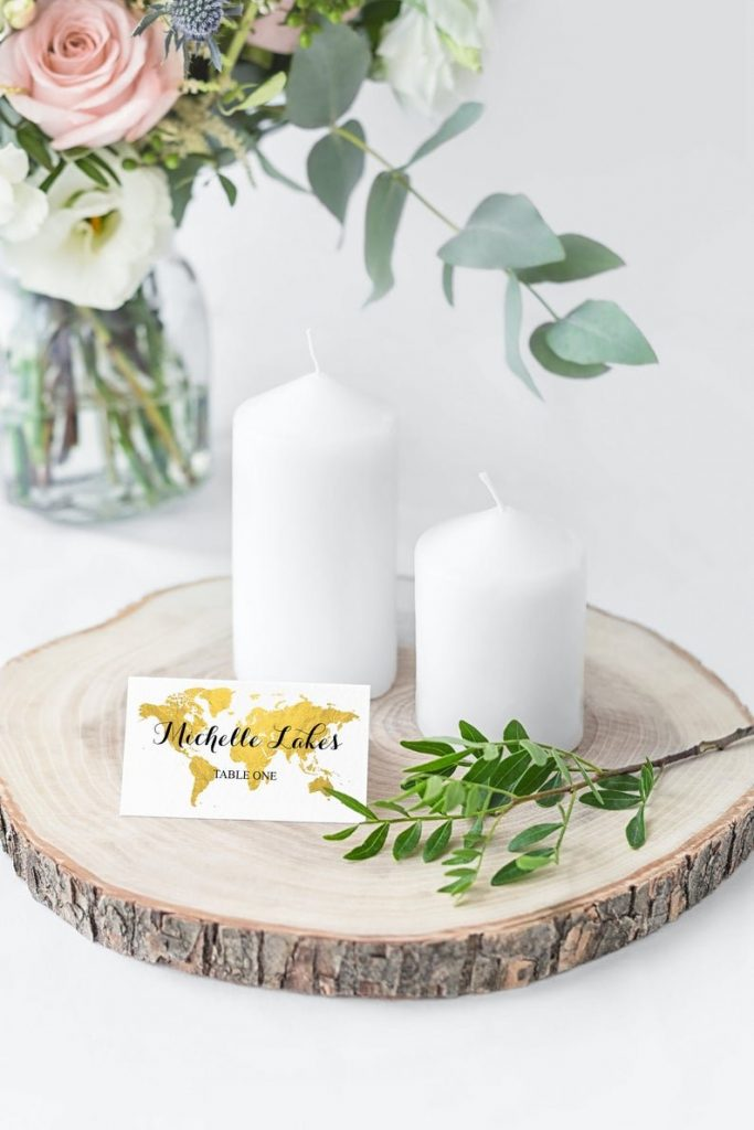 Travel Themed Wedding Editable World Map Place Cards