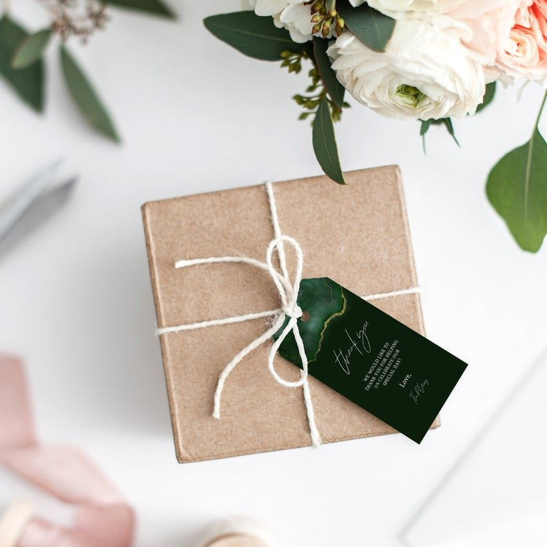 Emerald Green Gold Geode Wedding Favor Gift Tag