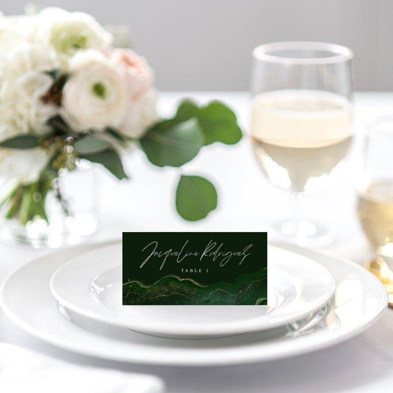 Emerald Green Gold Geode Wedding Place Card