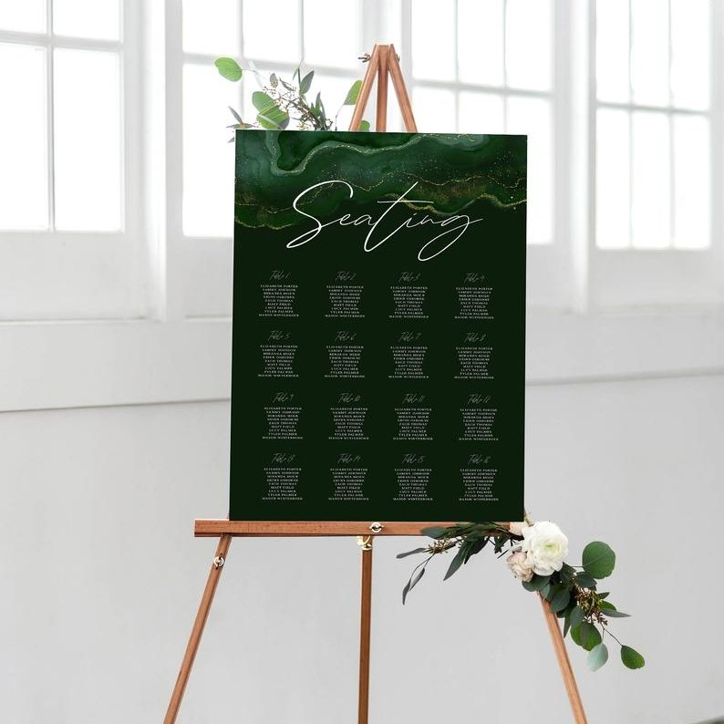 Emerald Green Gold Geode Wedding Seating Chart