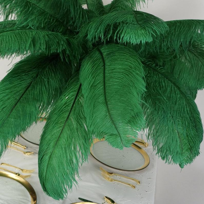 Large Emerald Ostrich Feathers For Wedding Table Centerpieces