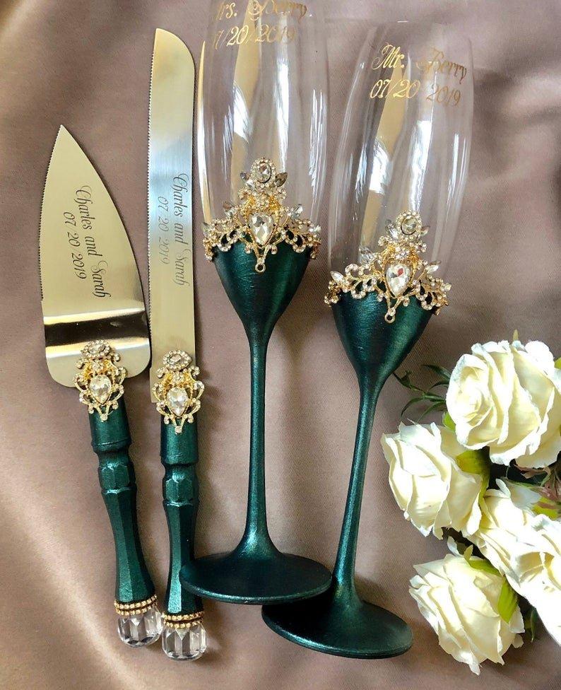 Emerald & Gold Personalized Wedding Flutes & Cake Server
