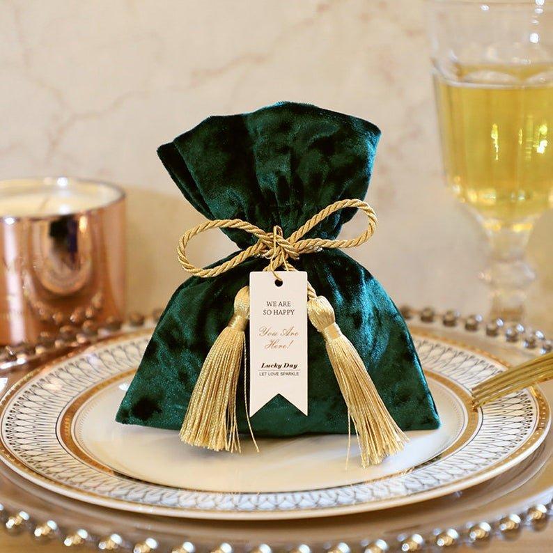Emerald Greed Velvet Wedding Favor Pouch
