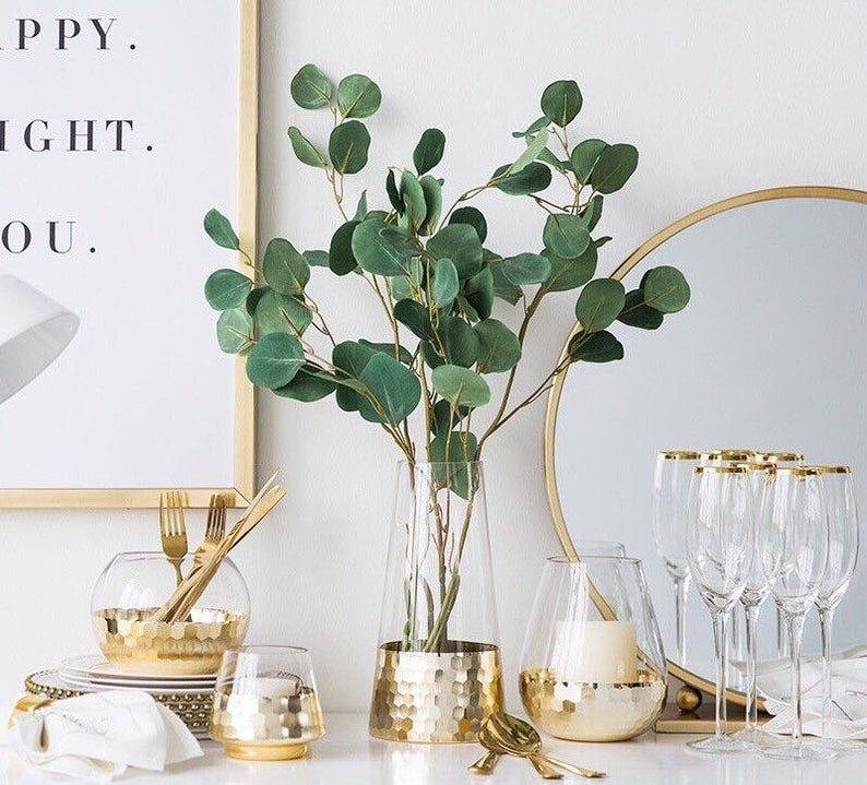 Gold Geometric Galvanized Glass Vase and Candle Holder Set.