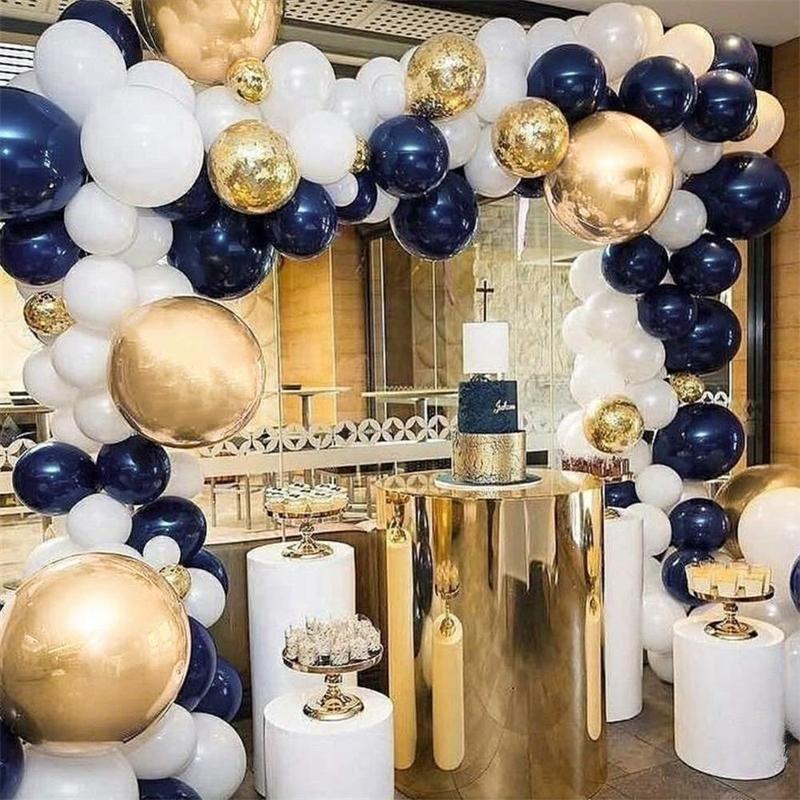 Navy Blue & Gold Metallic Balloon Arch Kit