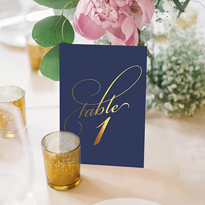 Navy & Gold Wedding Table Numbers