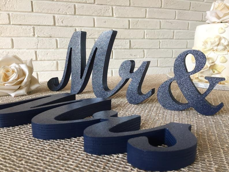 Navy Blue Mr. & Mrs. Wooden Letter Sign