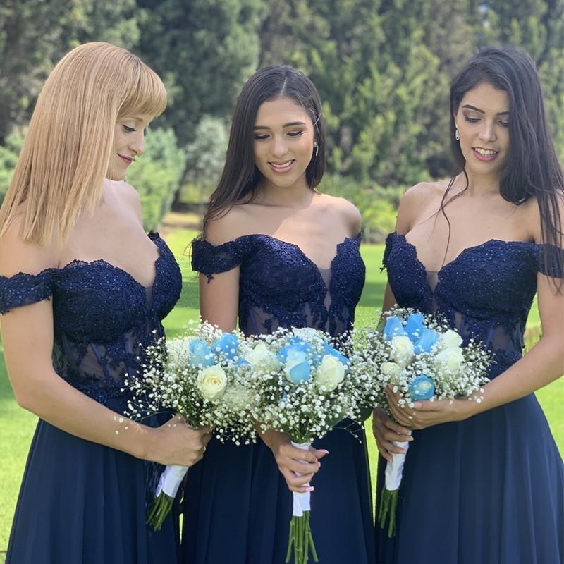 Navy Blue Off-the-shoulder Bridesmaid Dress