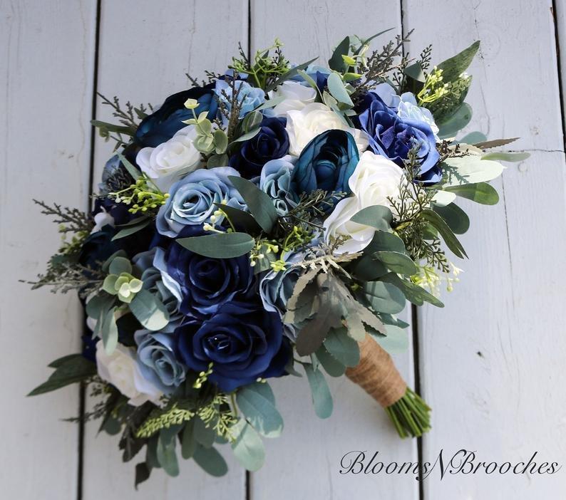 Navy Blue Wedding Flower Bouquet