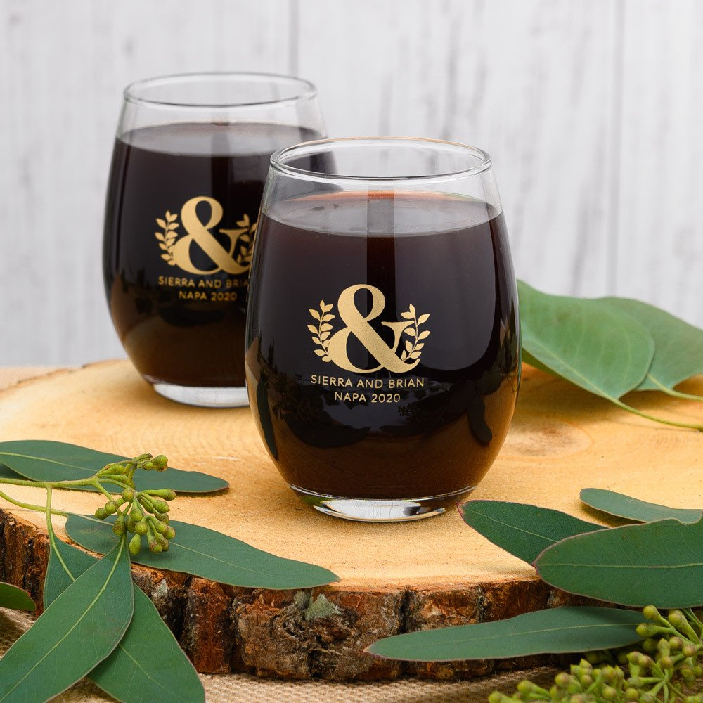 Emerald & Gold Wedding Theme Personalized Stemless Wine Glasses