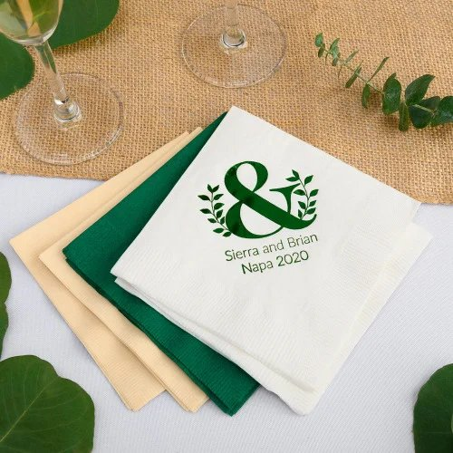 Emerald Green and Gold Personalized Wedding Napkins