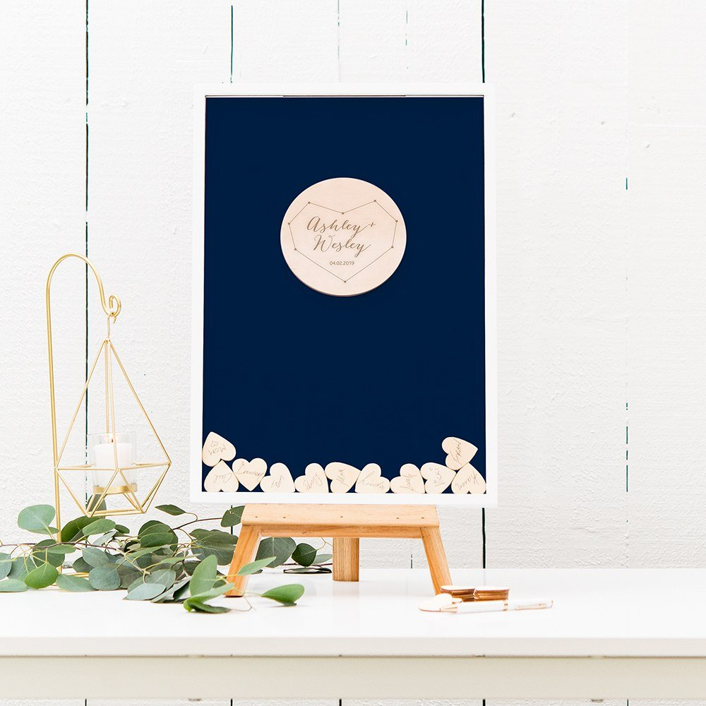 Navy Blue Personalized Drop Box Guest Book