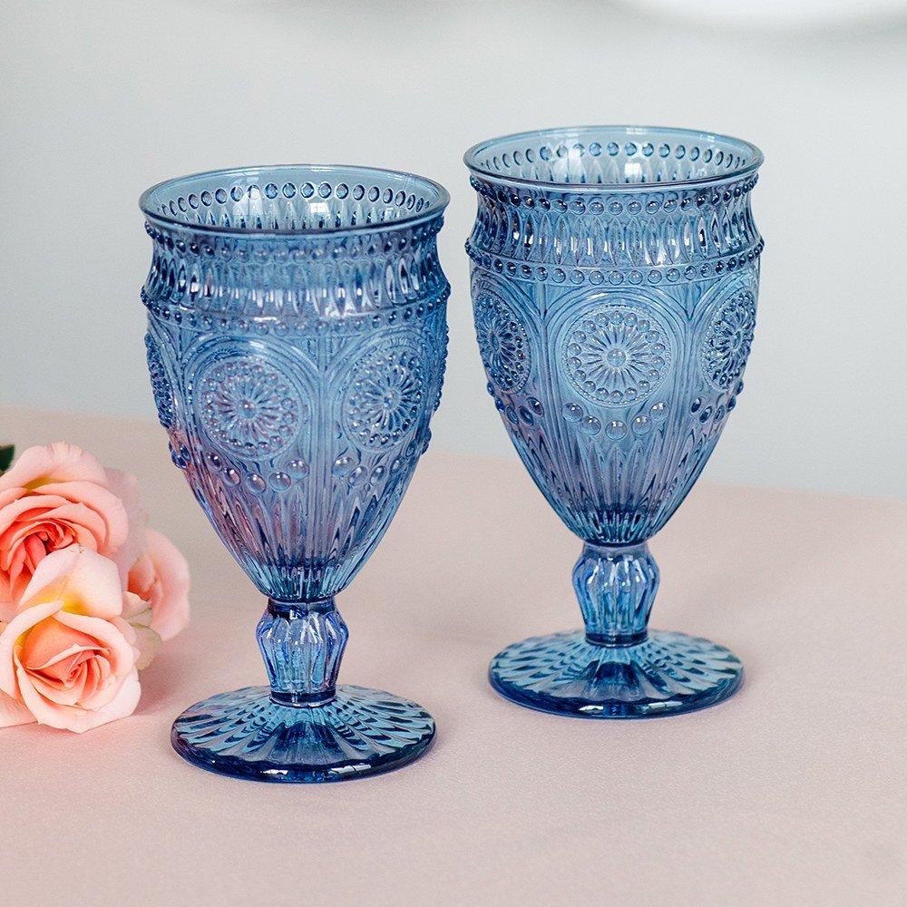 Vintage Blue Pressed Glass Wine Goblet