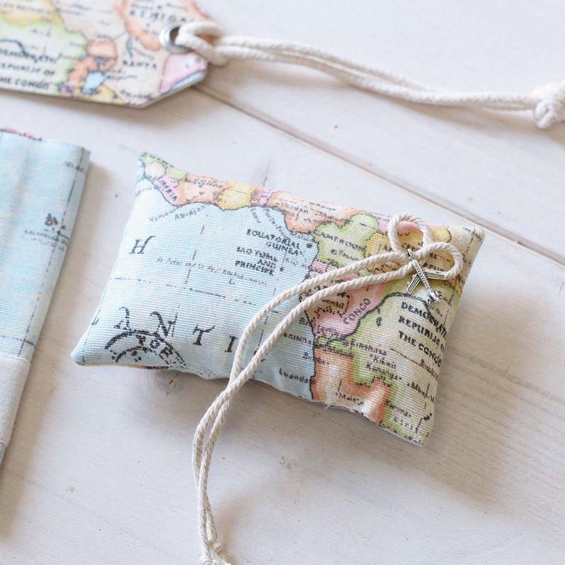 Travel Themed Wedding World Map Ring Pillow