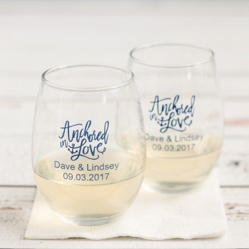 Anchored In Love Nautical Wedding Theme Personalized Stemless Wine Glasses